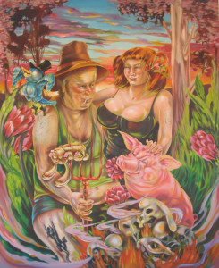 Hayley Arjona, 'Rock'n'roll rednecks can't get no satisfactual', 2012, oil on canvas, 200 x 165. Copyright: the artist
