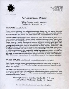 Press release for 'Fandom', White Columns, NY, October 1997