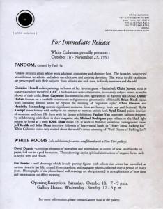 Press release for 'Fandom', White Columns, NY, October 1997