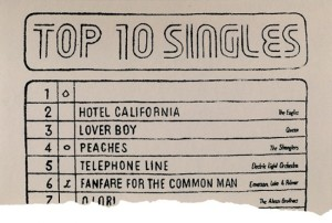 1977 UK Top 10 chart with no. 1 single (Sex Pistols, 'God save the queen') blanked out