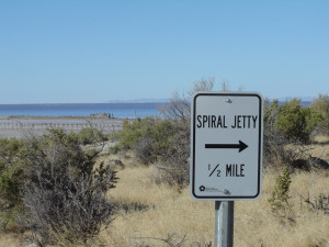 Signage at Rozel Point, Great Salt Lake. Photograph: Chris McAuliffe.
