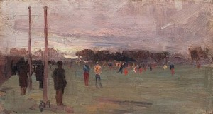Arthur Streeton, 'The national game', 1889, oil on cardboard, 11.8 x 22.9 cm, Art Gallery of NSW.