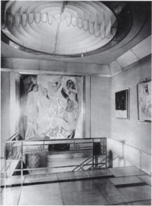Picasso's 'Les Demoiselles d'Avignon' (1907) in Jacques Doucet's studio house, 33 rue Saint-James, Neuilly-sur-Seine, 1929. Photograph by Pierre Legrain/Wiki Commons.