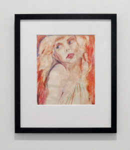 "Kim Gordon/Design Office, ""Debbie Harry"", 1980, watercolour on paper. Originally installed unframed, under Perspex."