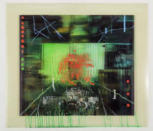 Lyndell Brown/Charles Green and Jon Cattapan, War and peace #11: night vision, 2014, oil and acrylic on digital print on duraclear film, 104 x 108 cm