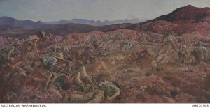 George Lambert, 'The charge of the 3rd Light Horse Brigade at the Nek, 7 August 1915', 1924, oil on canvas,152.5 x 305.7 cm (unframed). Australian War Memorial, Canberra.