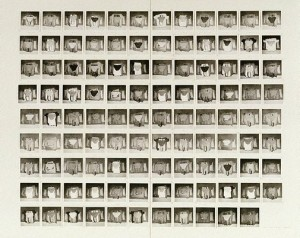Robert Rooney, 'Garments 3 December 1972–19 March 1973', 107 gelatin silver photographs [one unit framed], 7.9 x 7.8 cm; each image, Art Gallery of NSW.