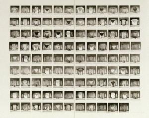 Robert Rooney, 'Garments 3 December 1972–19 March 1973', 107 gelatin silver photographs [one unit framed], 7.9 x 7.8 cm; each image, Art Gallery of NSW.