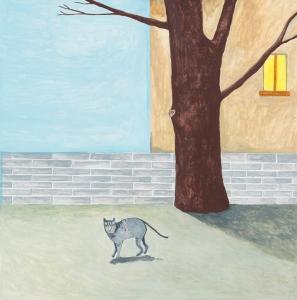 Noel McKenna, 'Pet cat frightened', 2014, oil on plywood, 42 x 44 cm. Copyright, the artist. Courtesy Darren Knight Gallery.